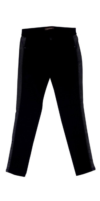James Jeans Leather Accent Skinny Pants Black