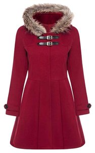 Rose Gal Love Kiss Fashion Flare Swayed Lady-like Fur Hood Pea Coat
