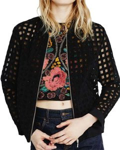 Zara Bomber Spring Zipper Black Jacket