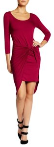 The Vanity Room Bodycon Knot Accent Jersey Asymmetrical Hem Dress