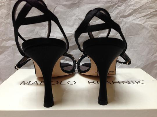 Manolo Blahnik Black Satin Rhinestone Heels Signed By Sandals