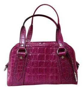 Miu Miu Leather Crocodile Embossed Raspberry Shoulder Bag