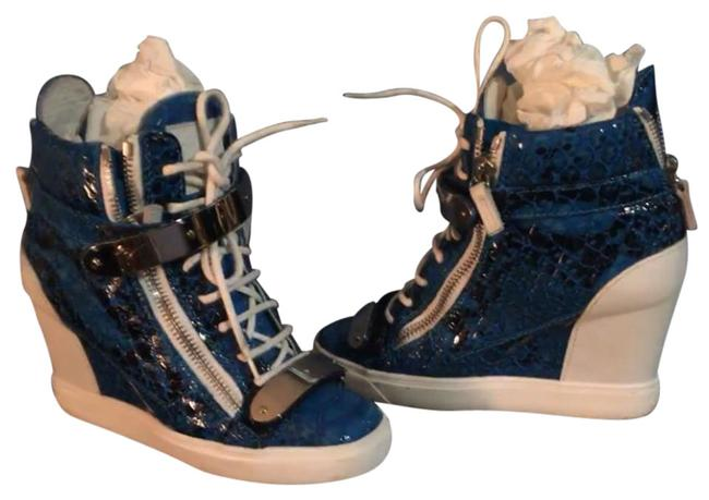 Item - Blue Python-print-patent Leather Wedge Sneakers Size US 8 Regular (M, B)