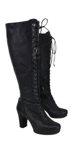 Kenneth Cole Black Leather Lace Up Boots