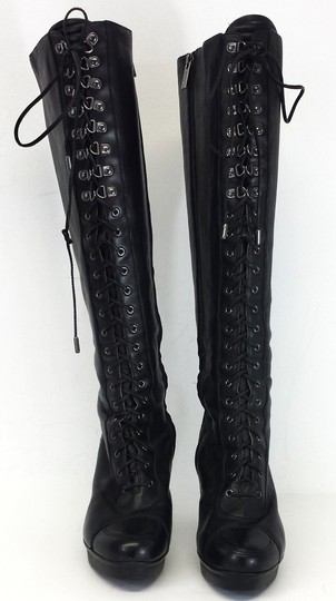 Kenneth Cole Leather Lace Up Black Boots