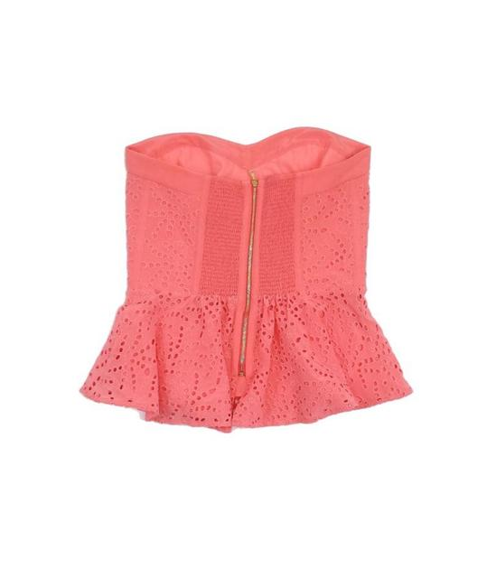 Rebecca Taylor Eyelet Silk Strapless Top Pink