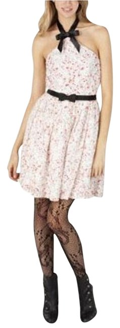 Item - White Pink Above Knee Cocktail Dress Size 4 (S)