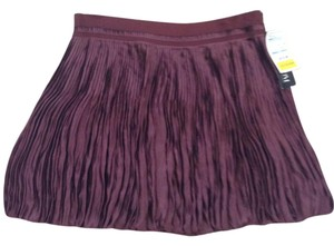 Theory Bubble Shiny Mini Pleated Mini Skirt Burgundy
