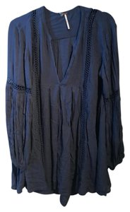 Free People Lace Tunic Flowy Casual Resort Top Blue