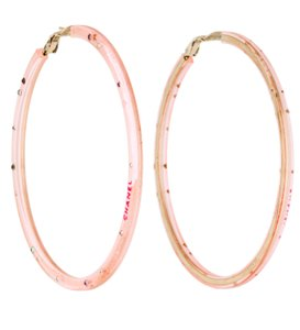 Chanel Gold-tone Chanel pink crystal interlocing CC hoop earrings
