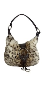 Isabella Fiore Brown Cream Rabbit Fur Shoulder Bag