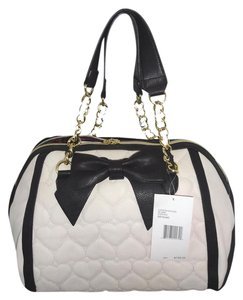 Betsey Johnson Bone Quilted Hearts Satchel in BONE/ BLACK
