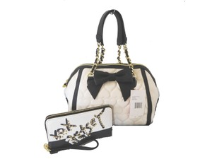 Betsey Johnson Quilted Hearts Wallet Satchel in BONE/ BLACK