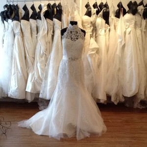 Mia Solano Ivory/Silver Lace/Tulle Wedding Dress Size 14 (L)