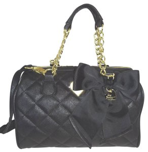 Betsey Johnson Cross Body Quilted Diamonds Satchel in black bone