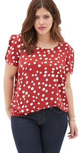 Forever 21 Polka Dot Flowy Top Red and White