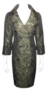 Etcetera ETCETERA Green Jacquard Double Breasted Jacket-Kick Pleat Skirt Suit
