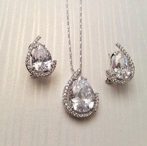 Luxury Cz White Gold Filled Jewelry Set