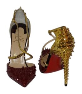 Christian Louboutin Brand New In Box BURGUNDY AND GOLD Pumps