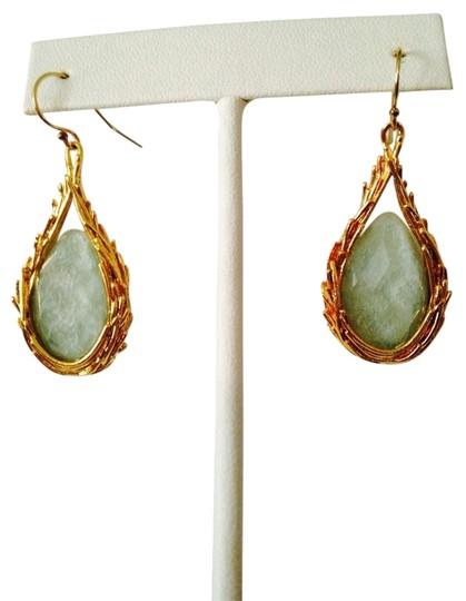 Alexis Bittar Feathered Tear Drop Dangle Wire Earrings In Gold With Amazonite