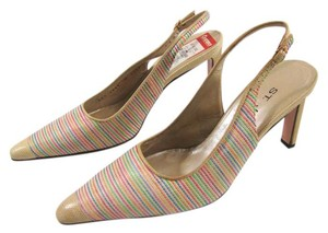 St. John New Beige 6.5 Raffia Woven Heels Slingback Leather Marie Gray Italy Tan multi-color Pumps