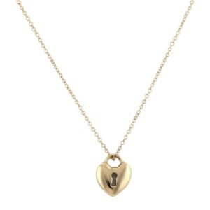 Tiffany & Co. 18k gold heart lock pendant and chain