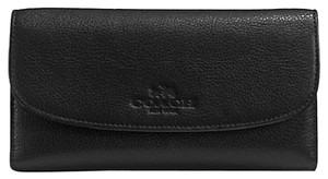 Coach F56488 New COACH PEBBLE LEATHER CHECKBOOK WALLET BLACK COLOR