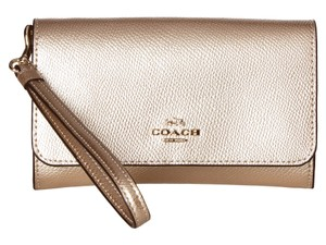 Coach Coach Phone Clutch in Metallic Leather