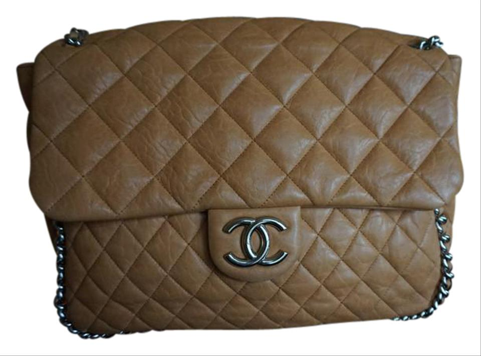 055688210ae Chanel Maxi Chain Around Flap Light Brown Lambskin Leather Shoulder ...