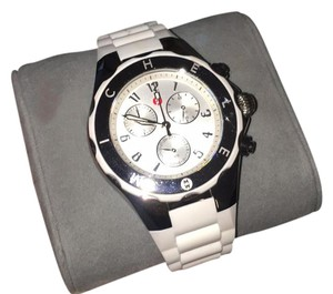 Michele white silicon band watch
