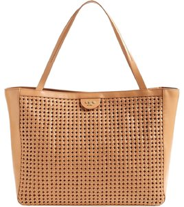 Tory Burch Woven Leather Perforated Tote in Beige