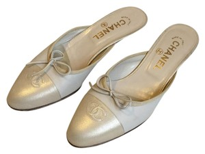 Chanel gold and bone Mules