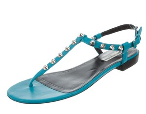 Balenciaga Silver Hardware Arena Studded Strappy Embellished Blue, Silver Sandals