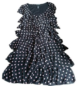 INC International Concepts Short Sleeve Polka Dot Ruffle Dress