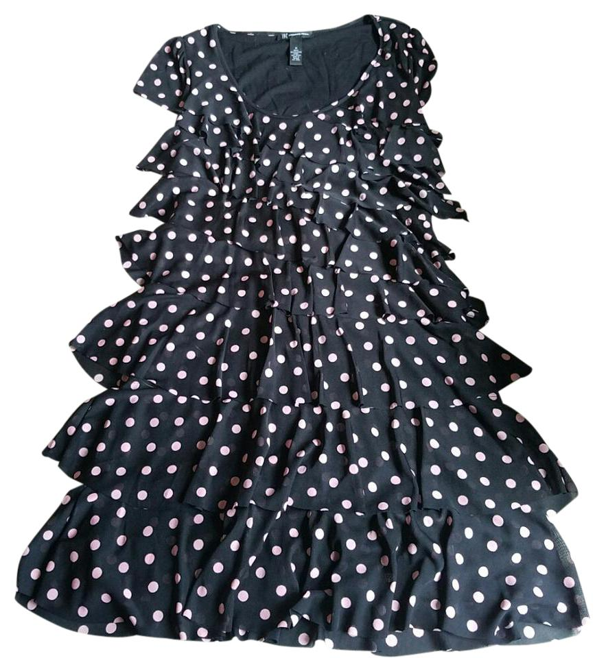 856c6628789c67 INC International Concepts Black and Pink Ruffled Polka Dot Cocktail Dress