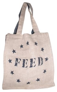 FEED USA + Target Jute Burlap * Reusuable Vertical Shopper Tote in Natural Beige