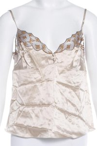 Louis Vuitton Lace Lv Monogram Silk Embroidered Top Gold, Ivory, Beige