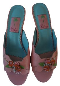 Lilly Pulitzer Leather Flowers Pink Sandals