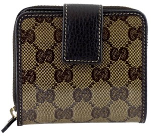 Gucci Gucci 346056 Women's GG Crystal Coated Canvas French Zip Around Wallet