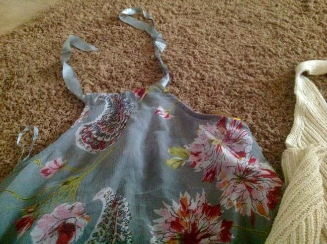 DKNY Biege Two S One Price. Beige and gray floral Halter Top