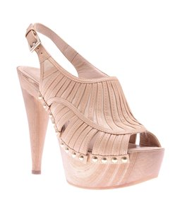 Dior Open Toe Sandals Slingbacks Tan Formal