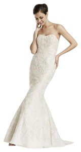 David's Bridal Champagne Lace Strapless Mermaid Gown with Gold Formal Wedding Dress Size 4 (S)