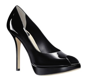 Dior Patent Leather Peep Toe Pump Black Platforms