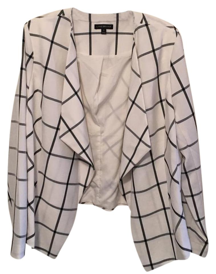179dbba3737 Lane Bryant White and Black Flyaway Jacket Blazer Size 20 (Plus 1x ...