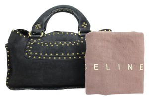 Céline Boston Speedy Grommet Studded Satchel in Black