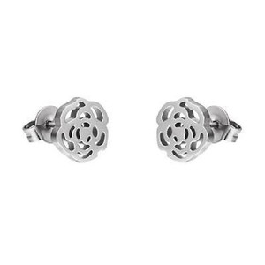 Other Rose Flower Earrings Stainless Steel Womens Studs Unique Design 8mm