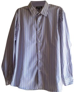 Apt. 9 Longsleeve Cotton Button Down Shirt Purple & White stripes