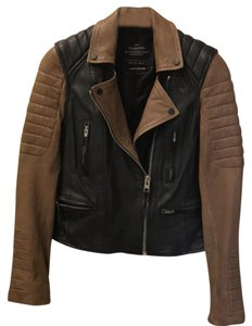 AllSaints black and taupe brown Leather Jacket