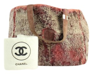 Chanel Fur Small Tote in Red