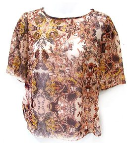 BCBGeneration Floral Sheer Top Pink Coral